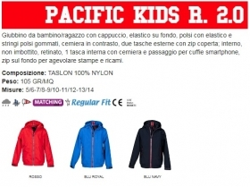 Giubbino PACIFIC KIDS R 2.0 bambino, zip da 8mm in contrasto