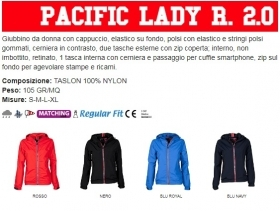 Giubbino PACIFIC LADY R2.0 ergonomico da donna, zip da 8mm in contrasto
