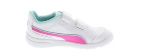 Scarpetta Puma Kids Stepfleex FS SL V PS White-Knockout Pink-Aruba Blue TG 35