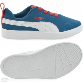 Scarpetta Puma Kids Courtflex PS Mykonos Blue-Puma White TG 35