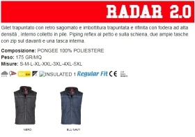 Gilet RADAR 2.0  unisex, zip 5mm in plastica con cursore in metallo