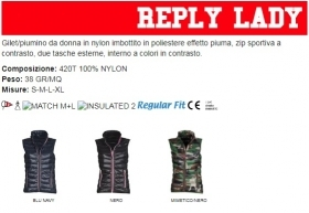 Gilet/piumino REPLY LADY ergonomico da donna , zip in nylon a contrasto