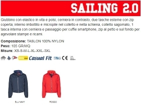 Giubbino SAILING 2.0 uomo, zip da 8mm