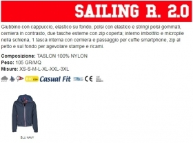 Giubbino SAILING R 2.0 uomo, zip da 8mm in contrasto