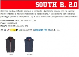 Gilet SOUTH R2.0 unisex, zip da 8mm a contrasto