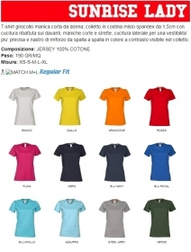 T-shirt SUNRISE LADY girocollo manica corta da donna