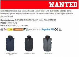 Gilet WANTED unisex, zip da 8mm in plastica con cursore in metallo